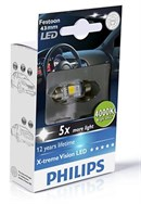 Philips LED Pinol pære C5W 43mm (Festoon) 4000K (1 stk)