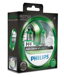 Philips Color Vision H4 Green (2 stk)