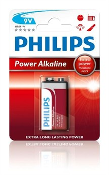 6LR61 Philips Power Alkaline 9 volt Batteri (1stk)