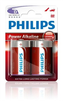 LR20 / D Batteri Philips Power Alkaline 1,5V (pk. á 2 stk)