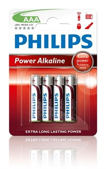 LR03 / AAA Philips Power Alkaline 1,5V (pk. á 4 stk)