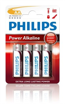 LR6 / AA Philips Power Alkaline 1,5V (pk. á 4 stk)